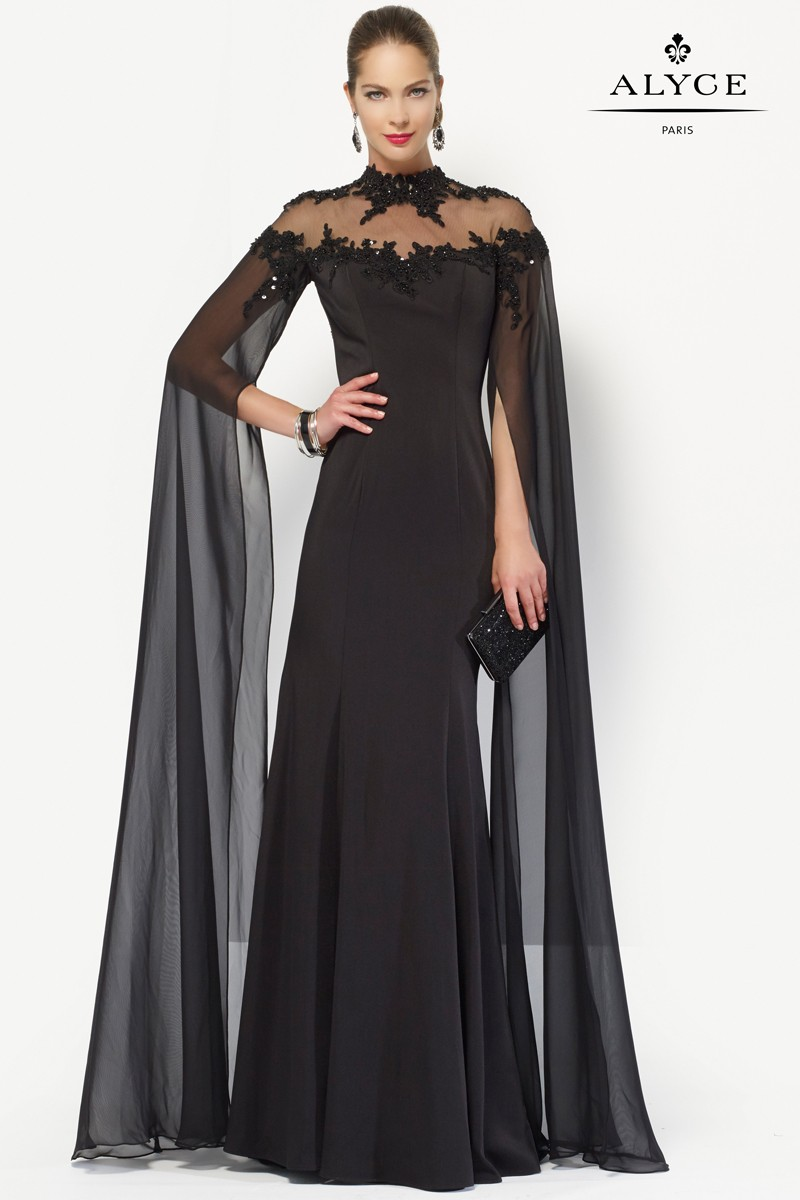 Alyce Paris Long Sleeve Beaded Gown