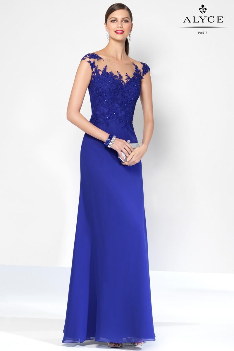 Alyce Paris Cap Sleeved Beaded Dress
