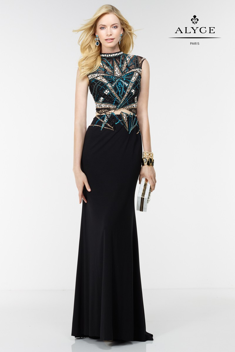 Alyce Paris short sleeves Evening Gown