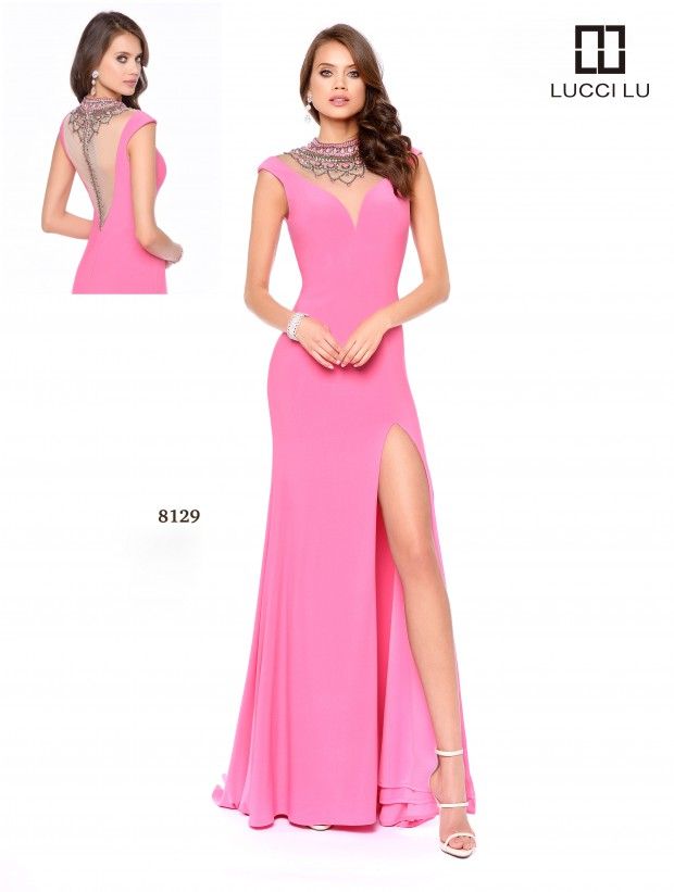Lucci Lu Jeweled Neck Gown