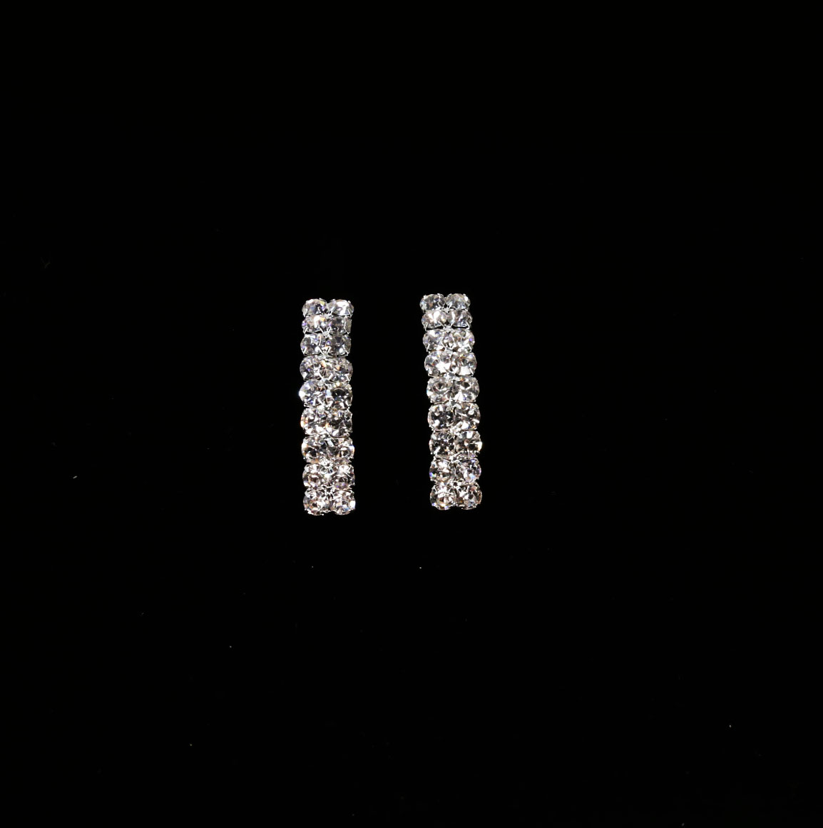 Long Rectangle Silver Earrings