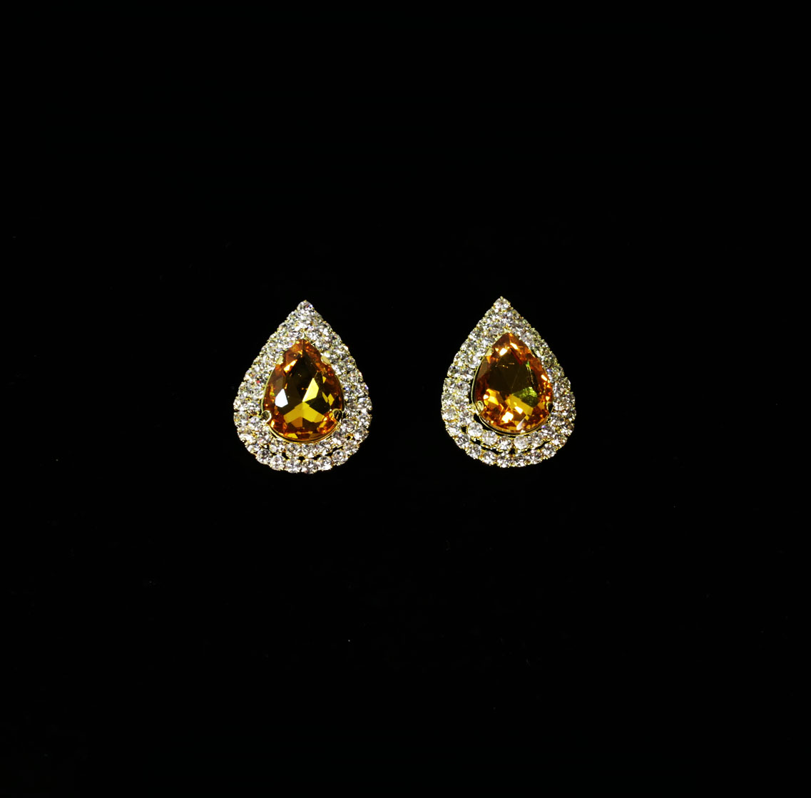 Yellow Crystal Teardrop Earrings