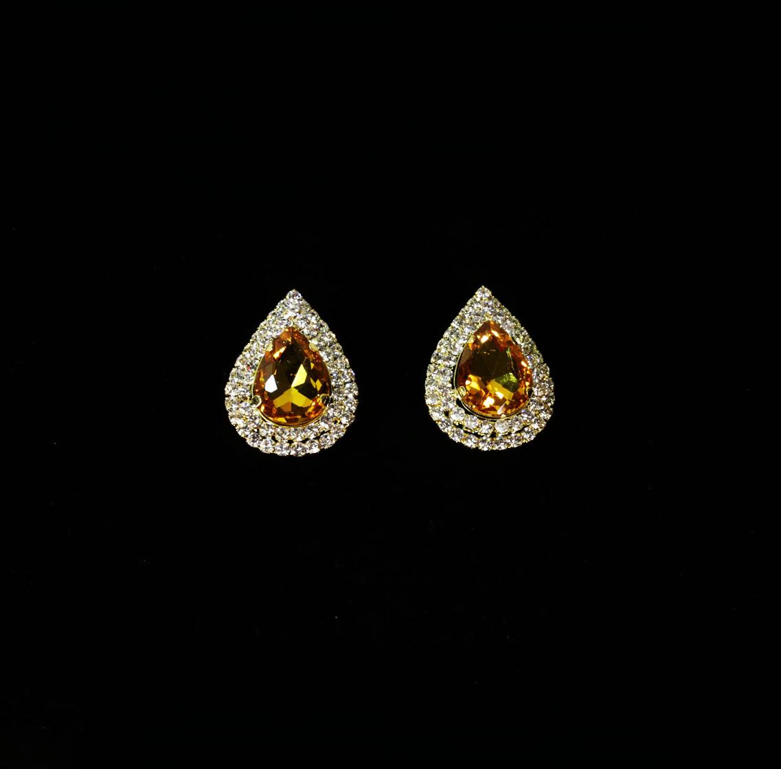 Yellow Crystal Teardrop Earrings