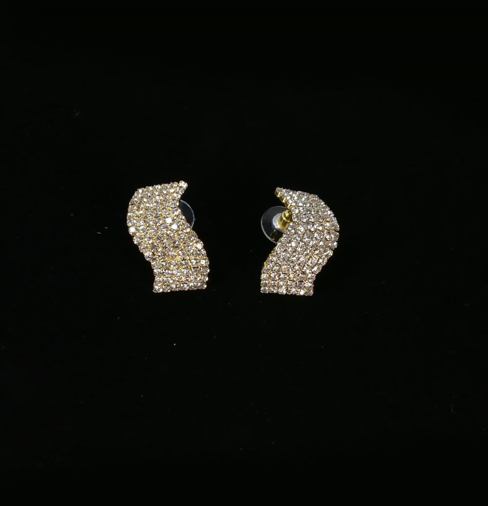 S Shaped Shining Rhinestones Earrings