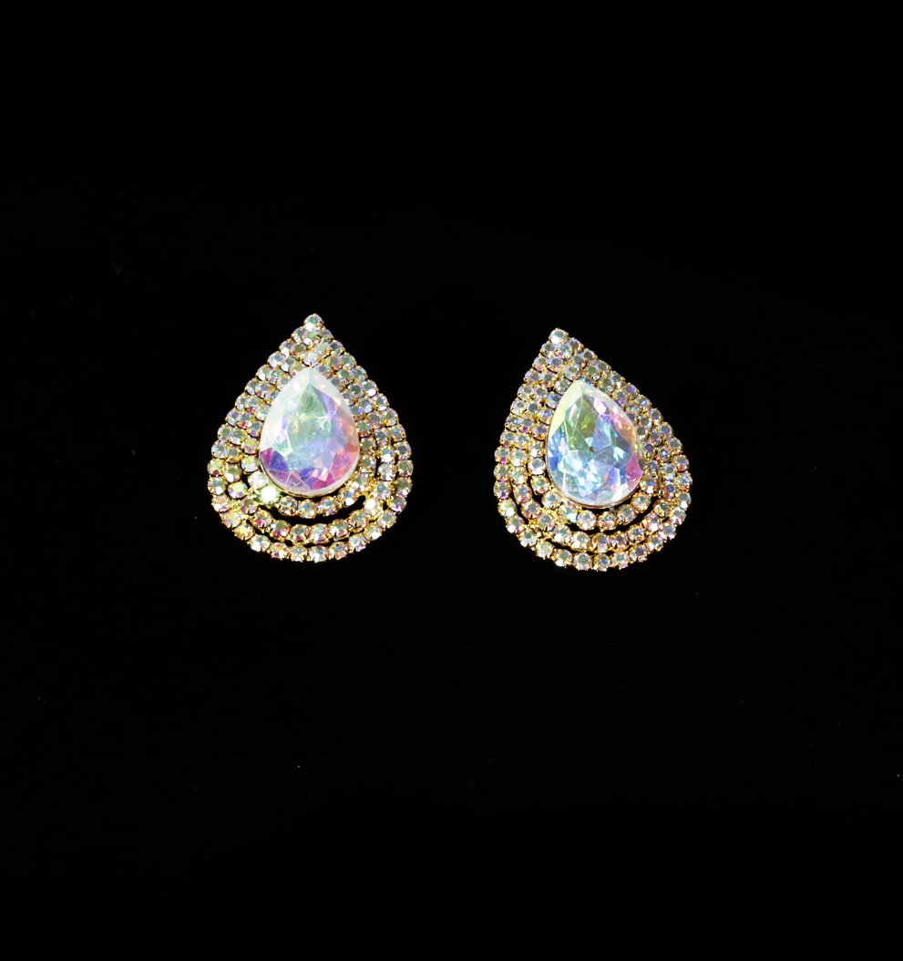 Rainbow Crystal Big Teardrop Gold Plated Earrings