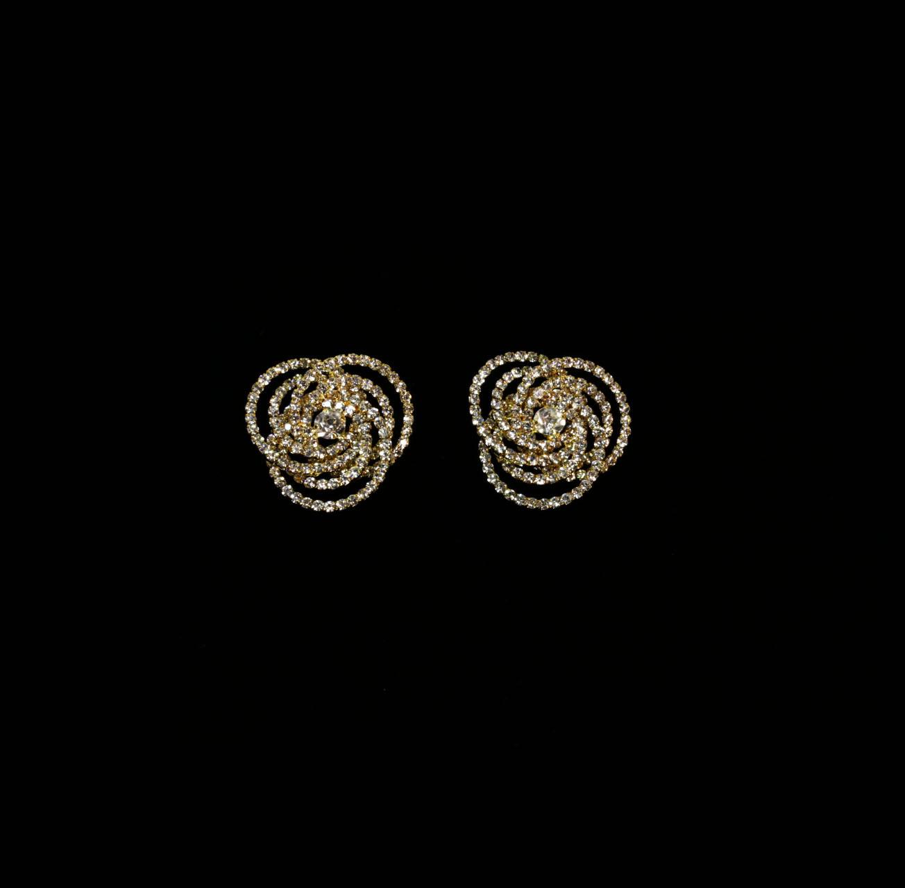 Beautiful Floral Gold Stud Earrings