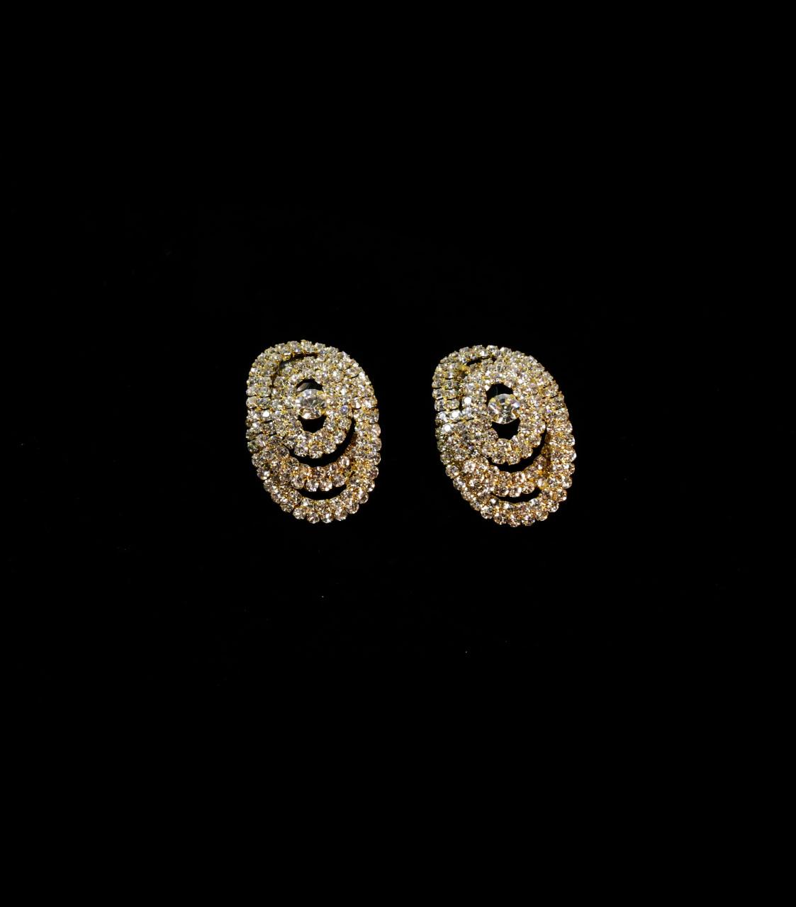 Round Overlapping Rhinestone Earrings