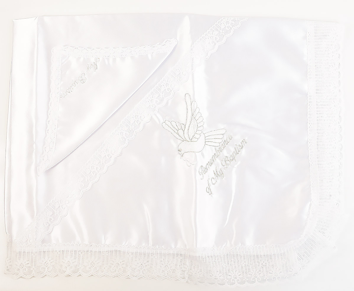 Satin Lace Baptism Blanket Set (Bird)