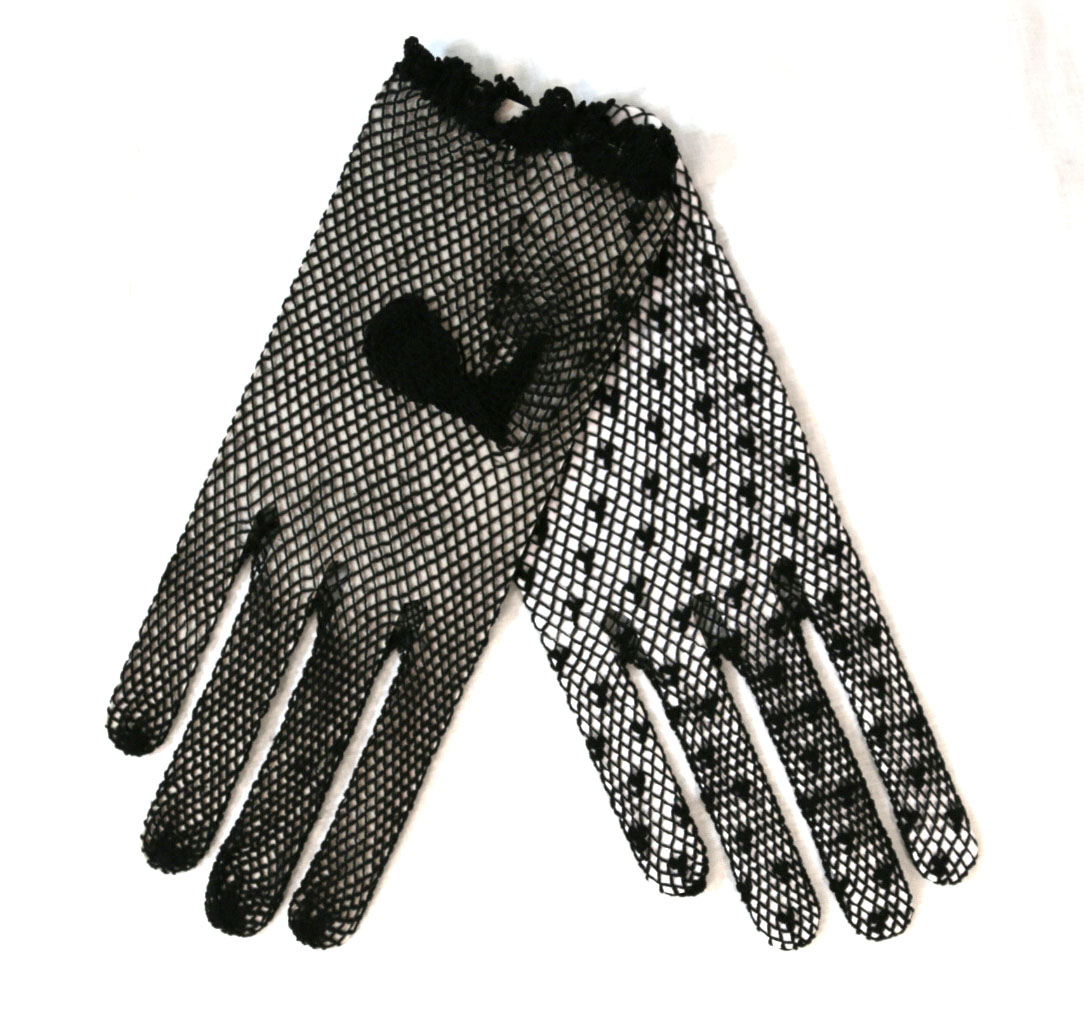 One Size Short Black Mesh Gloves