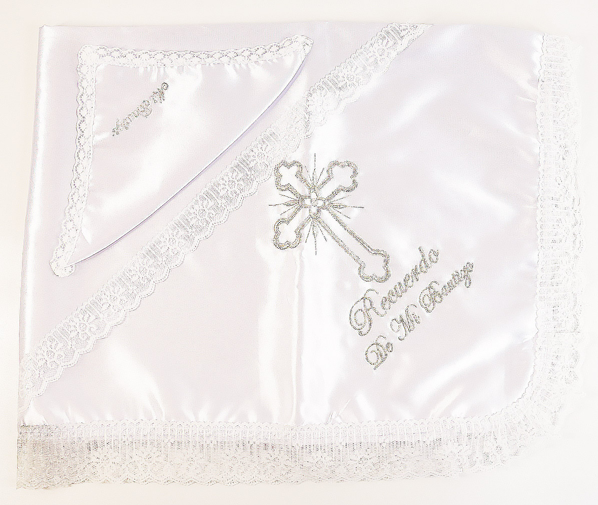 Satin Lace Baptism Blanket Set