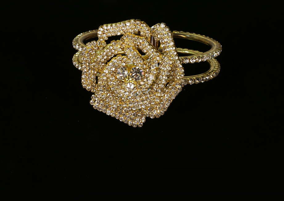 Gold Plated Rose Flower Crystal