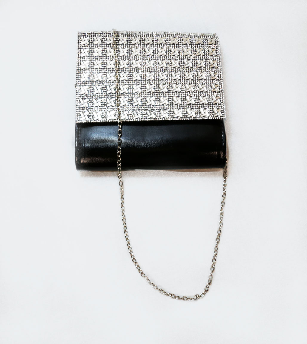Sophia Collections Crystal Black Clutch Bag