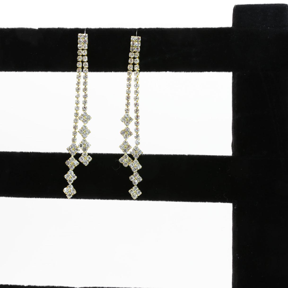 multi-chain crystal dangle earring