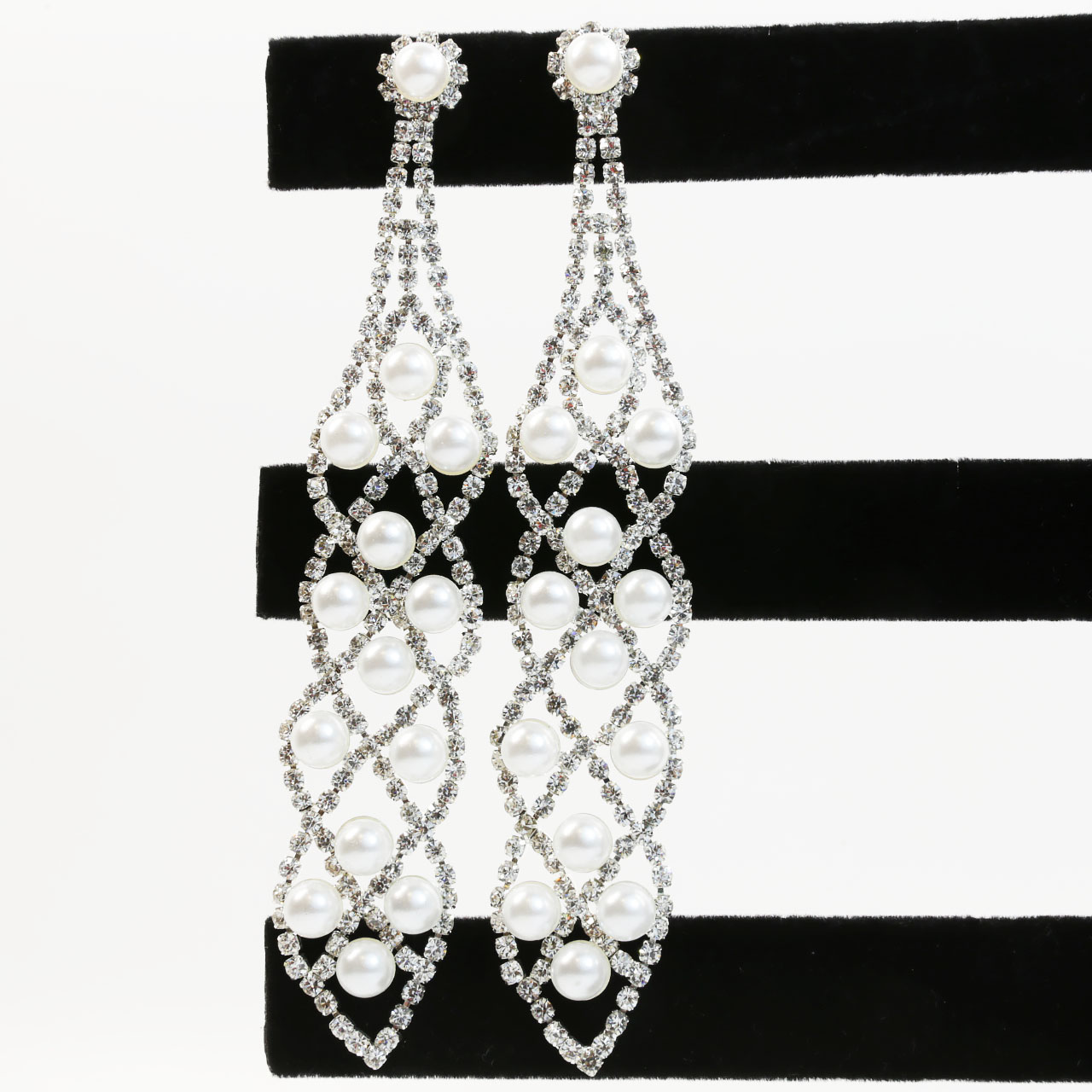 Pearl Crystal Dangle Chandelier Earrings